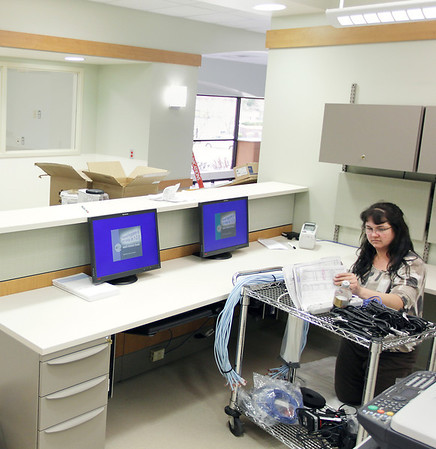 Record-Eagle/Keith King<br /> Jean Case, with information systems at Munson Medical Center, works Friday, May 6, 2011 in what will be part of an expansion of the hospital's current infusion clinic.