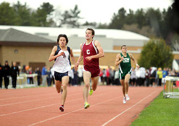 Record-Eagle/Keith King<br /> Big Rapids' Clark Ruiz, left, edges Charlevoix's Eric Buday in the 1600-meters.