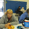Record-Eagle/Michelle Merlin <br /> Debra Marfh eats lunch at the Salvation Army on Monday.