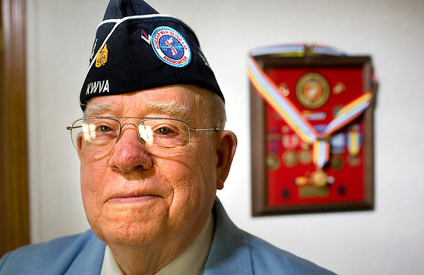 Record-Eagle/Jan-Michael Stump<br /> Korean War Veteran Gene Dixon was awarded the Ambassador for Peace medal from the Korean government. The Marine veteran was in the Battle of Chosin Resevoir in 1950.