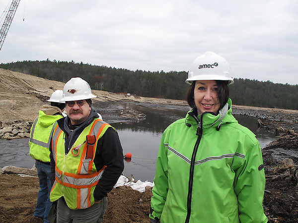 Record-Eagle/Glenn Puit<br /> Sandra Sroonian, senior engineer for AMEC, and Frank Dituri, Chairman of the Boardman River Implementation Team, stand in front of the Boardman River on Tuesday, Nov. 6, 2012. Photo by Glenn Puit