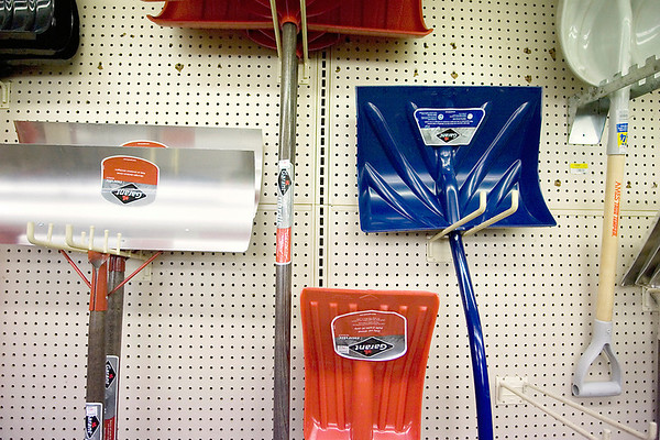 Record-Eagle/Keith King<br /> Shovels are displayed at the Ace Hardware on West Front Street.