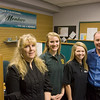 Record-Eagle/Keith King<br /> From left, Angela Thomas, office supervisor at the Members Credit Union inside the Traverse Bay Area Intermediate School District Career-Tech Center, Kaitlyn Vezina and Katie Doornbos, student tellers at the credit union and Marc McKellar, director of business development.