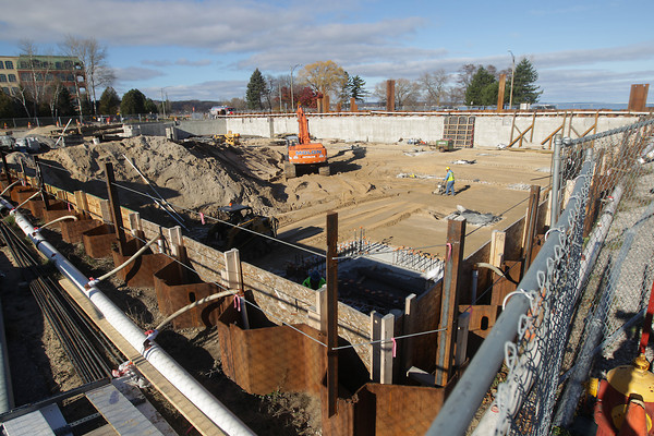 Record-Eagle/Keith King<br /> Work takes place at the site of the planned Hotel Indigo Tuesday, November 19, 2013 in Traverse City's Warehouse District.