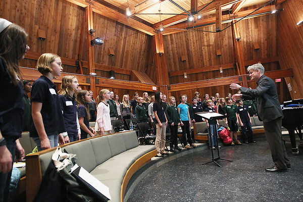 Record-Eagle/Keith King<br /> Jeffrey Cobb, Northwestern Michigan College Children's Choirs director, holds rehearsal for members of the NMC Children's Choir Cantus Tuesday, November 20, 2012 in the Northwestern Michigan College Shirley S. Okerstrom Fine Arts Building. The group is scheduled to perform with the Traverse Symphony Orchestra on December 8 and 9.