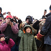 Record-Eagle/Jan-Michael Stump<br /> Wings of Wonder director Rebecca Lessard shows a 4-year-old bald eagle to the crowd before releasing him back into the wild from Bower's Harbor Park.