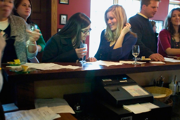 Record-Eagle/Jan-Michael Stump<br /> Caitlin Grietsell, left, and Ashley Boyer of Grand Rapids try hard ciders at Tandem Ciders in Suttons Bay.