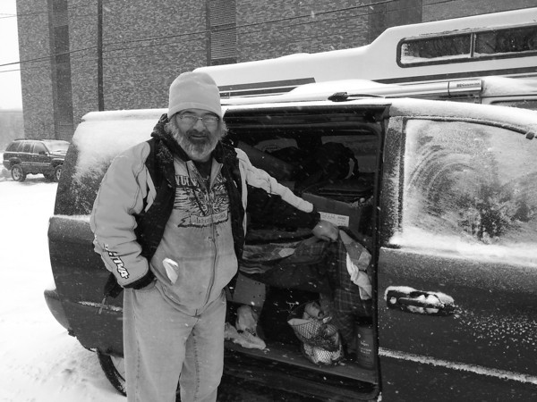 Record-Eagle/Anne Stanton<br /> Randy Parcher, who lives in a van, has captured the homeless life in art.