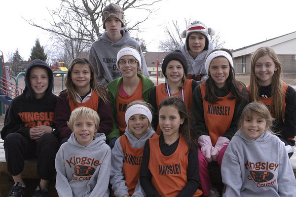 Record-Eagle/Lisa Perkins<br /> The K-Town Striders, Kingsley area athletes ages 9-14,  have qualified to participate in the USATF National Junior Olympic Cross Country Championships to be held in Alabama on Dec. 11. Team members include back row, left to right, Dylan Zenner, Jacob Kenna; middle row from left to right, Jake King, Josephine Durecki, Kelsey Graham, Bethany McNair, Marie Pierson, Elana Harrand; front row from left to right, Collin Graham, Remmi King, Katelyn Duffing and Jacie King.