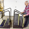 Record-Eagle/Keith King<br /> Glenn Schrock uses the Handi-Steps.