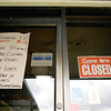 Record-Eagle/Keith King<br /> A sign is displayed on a door at The Flap Jack Shack in Traverse City on Tuesday.