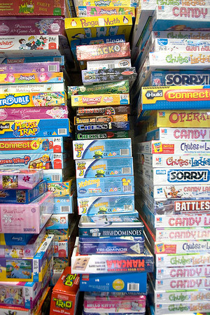 Record-Eagle/Keith King<br /> Games donated as part of Toys for Tots are stacked at Fox Grand Traverse.