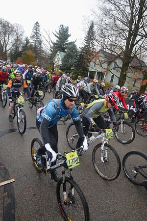 Record-Eagle/Keith King<br /> Todd Mueller, as well as other riders, takes off from the starting line Saturday, November 2, 2013 in Kalkaska during the 24th annual Iceman Cometh Challenge bicycle race.