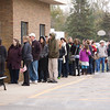 Record-Eagle/Jan-Michael Stump<br /> The line of voters stretched into the parking lot at Garfield Township Precinct 2 just before 5 p.m. Tuesday.
