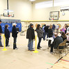 Record-Eagle/Keith King<br /> Long Lake Township residents wait in line for their turn as voting takes place Tuesday, November 6, 2012 at Long Lake Elementary School.