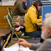 Record-Eagle/Jan-Michael Stump<br /> Isaac Martin, 3, waits for his mother Nicole Martin to fill out her ballot Tuesdy at Leelanau County's Bingham Township Hall.