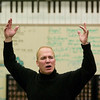 "Record-Eagle/Jan-Michael Stump<br /> Franc D'Ambrosio, the longest-running phantom from Broadway's ""Phantom of the Opera,"" performs ""The Music of the Night,"" for a group of Traverse City West students to wrap up a workshop on Wednesday."