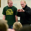 "Record-Eagle/Jan-Michael Stump<br /> Franc D'Ambrosio, the longest-running phantom from Broadway's ""Phantom of the Opera,"" works with Traverse City West's Jon Oakley on a song from ""Phantom,"" during a workshop with students on Wednesday."