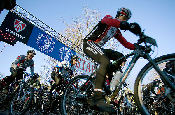 Record-Eagle/Keith King<br /> Riders start in Kalkaska on Saturday for the 21st annual Iceman Cometh Challenge bicycle race.