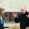 "Record-Eagle/Jan-Michael Stump<br /> Franc D'Ambrosio, the longest-running phantom from Broadway's ""Phantom of the Opera,"" works with Traverse City West's Alyse Carbonell on a song from ""Little Women,"" during a workshop with students on Wednesday."