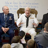 Record-Eagle/Keith King<br /> United States Navy veteran, Henry Schantz, right, of Rapid City, alongside United States Air Force veteran, Joe Renis, of Kewadin, talks to a group of fifth-grade students Thursday, November 11, 2010 at Mill Creek Elementary School in Williamsburg about his experiences in World War II and what it was like to come home.