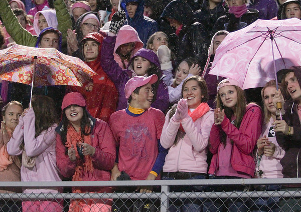 Record-Eagle/Keith King<br /> Traverse City Central High School fans cheer for their team prior to the football game against Ogemaw Heights Friday, October 18, 2013 at Thirlby Field in Traverse City.