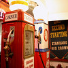Record-Eagle/Loraine Anderson<br /> Old Standard Red Crown gas pumps once used at the Taghon's Corner store now brighten the basement exhibit room in the Empire Heritage Museum.