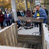 Record-Eagle/Keith King<br /> Dave Warren, of Traverse City, an organic gardener and retired builder, demonstrates and explains how to build a compost bin from pallets Saturday, October 20, 2012 at Northwestern Michigan College during the Great Lakes Bioneers conference at Northwestern Michigan College. The conference concludes Sunday.