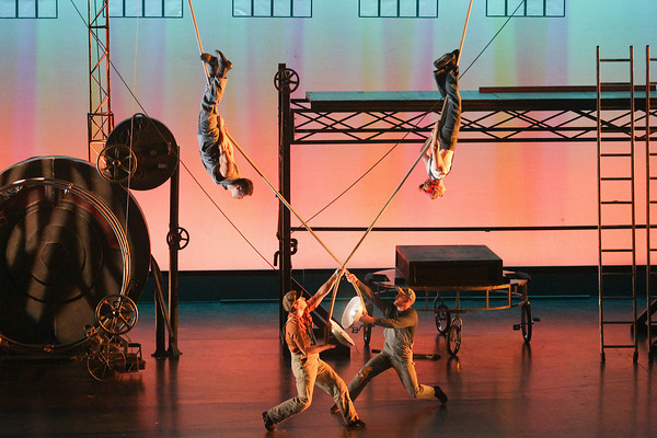 "Record-Eagle/Keith King<br /> Members of the group, Cirque Mechanics, perform during their show, ""Birdhouse Factory,"" Monday, October 28, 2013 in Corson Auditorium at the Interlochen Center for the Arts as part of the Interlochen Center for the Arts 2013-2014 Performing Arts Series."