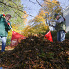 "Record-Eagle/Keith King<br /> Ann and James Blanchard rake leaves in the afternoon Monday, October 28, 2013 at their home in Traverse City. ""There's still more to come,"" Ann said about the leaves that've yet to fall in their yard."