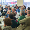 Record-Eagle/Keith King<br /> Attendees listen as Jim Bredin, deputy director for Asian carp with the White House Council on Environmental Quality, delivers a presentation Friday, November 01, 2013 during the sixth annual Freshwater Summit at the Hagerty Center on Northwestern Michigan College's Great Lakes Campus in Traverse City.