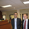 Record-Eagle/Glenn Puit<br /> <br /> First National Bank of America vice presidents Todd Gignilliat, left, and Geoff Streit, stand in the bank's new Traverse City headquarters at 315 N. Division St.