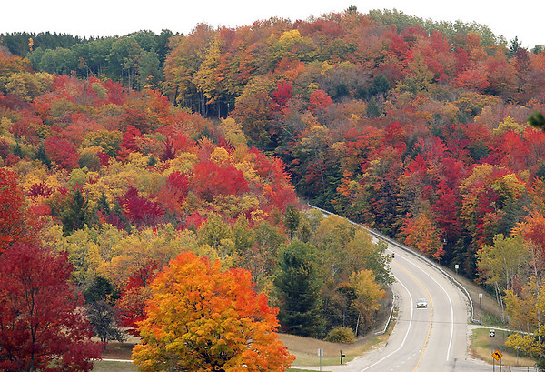 Record-Eagle/Keith King<br /> Colorful leaves are visible Thursday, October 4, 2012 as a motorist travels on M-72 between Traverse City and Empire.