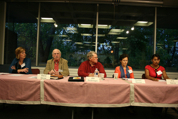 Record-Eagle/Loraine Anderson<br /> The panel on migrant workers Sunday night at the History Center included, from left: Melissa Claramunt, Steve Morse, Jim Bardenhagen, Gladys Munoz and Ana Garcia.