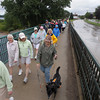 Record-Eagle/Keith King<br /> Participants cross over the Boardman River on the Robert B. Murchie Bridge Monday, September 02, 2013 during the second annual Traverse City Labor Day Bridge(s) Walk sponsored by Traverse City Walks.