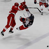 Record-Eagle/Jan-Michael Stump<br /> Detroit Red Wings right winger Willie Coetzee (70) upends Columbus Blue Jackets' Petr Straka (57) in the first period of Saturday's NHL Prospect Tournament game.