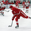 Record-Eagle/Keith King<br /> The Detroit Red Wings' Landon Ferraro shoots the puck against the Carolina Hurricanes Wednesday, September 14, 2011 during the annual National Hockey League Prospect Tournament at Centre ICE in Traverse City.