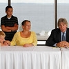 Record-Eagle/Jan-Michael Stump<br /> From left, Michael Knudsen's brothers Damien Tokar, 8, and Dakota Tokar, 12, and mother Tina Tokar sit next to attorney Geoffrey Fieger during a press conference.