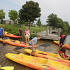 "Record-Eagle/Keith King<br /> Participants prepare to kayak on Boardman Lake at Hull Park Saturday, September 7, 2013 as part of ""Singles Kayaking for the Cause."""