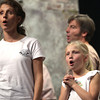 Record-Eagle/Nathan Payne<br /> Susan and Hannah Johnson exercise their vocal cords before a rehearsal of the Old Town Playhouse production of Les Miserables. The pair are joined in the cast by several other families.