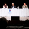 Record-Eagle/Tessa Lighty <br /> Candidates for two spots on the Northwestern Michigan College Board of Trustees participate in a forum at the Dennos Museum Center in Traverse City on Tuesday.