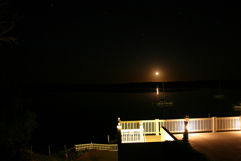 A late night look at Morro Bay with the moon going down from our hotel room.