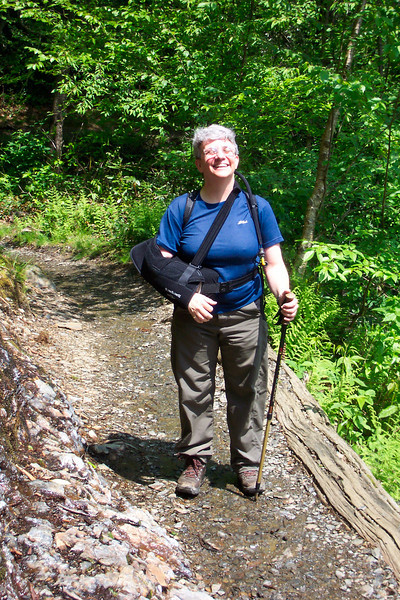 Jeane enjoys the sunshine which is a rare occurrence on Mt. LeConte.
