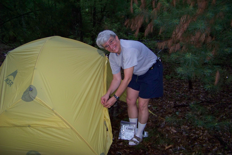 Jeane's figuring out how this new tent works.