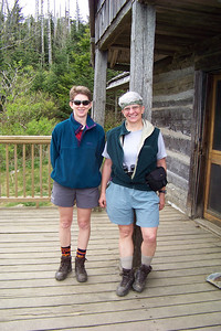A fellow hiker offers to take our picture at the Lodge.