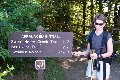 Day 2:  Patti does not approve of the Park Service's attempt at humor.  She is happy that our round-trip hike to Charlie's Bunion is only 8 miles and not 2000.