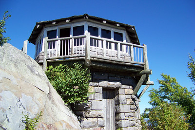 The Mt. Cammerer fire tower is a beautiful structure; Patti admires the elegance and craftsmanship of many of these CCC-built works.