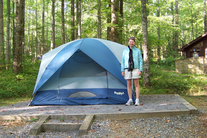 Back at the Cosby Campground, Patti dons her jacket as the evening air gets cooler.
