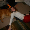 Kimbo using my dog as furniture.