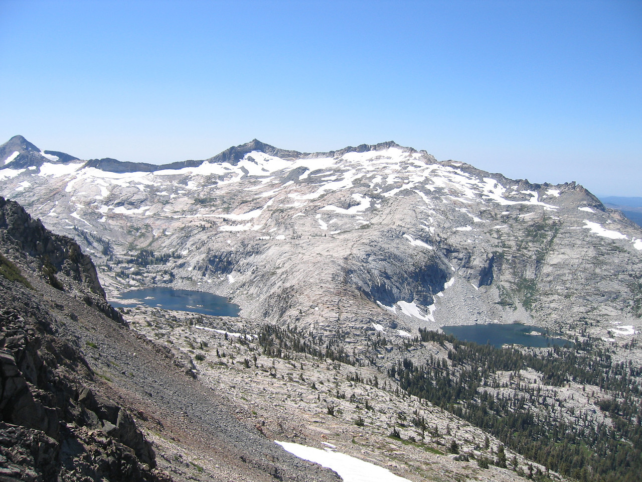 Looking Southwest from Jack's Peak...<br /> <br /> Mosquito Pass below, <br /> <br /> Aloha Lake to the left of the pass, <br /> <br /> Clyde Lake to the right of the pass<br /> <br /> Peaks Price, Aggasiz, and Pyramid going R to L.